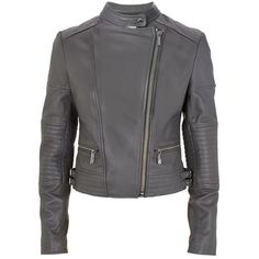 MICHAEL Michael Kors Leather Biker Jacket ($770) ❤ liked on Polyvore