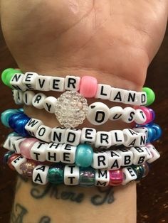 WONDERLAND & neverland theme // Festival Rave Kandi Bracelets // set of 5 by lostANGELESravecave on Etsy https://www.etsy.com/listing/385338956/wonderland-neverland-theme-festival-rave