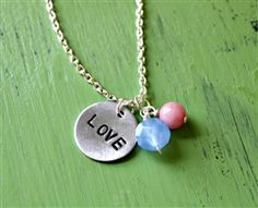 hand-stamped LOVE cluster necklace by Lemon Kissed