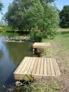 Standard Match Fishing Platform, for the point to fish! Lake Landscaping, Landscaping Ideas, Farm Pond, Lake Dock, Docks Lake, Boat Dock, Pond Life, Fish Ponds, Lake Cabins