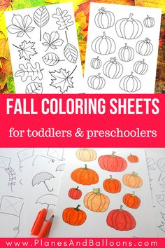 Free printable fall coloring pages for preschool and for toddlers too. Kids will love these pumpkin coloring pages, leaves coloring pages, kites, and umbrellas! Fall Coloring Sheets, Fall Leaves Coloring Pages, Pumpkin Coloring Pages, Preschool Coloring Pages, Printable Coloring Pages, Coloring Pages For Kids, Kids Coloring, Fall Preschool Activities, Harvest Activities