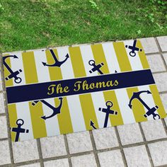 Anchor Designed Doormat*Blue and Yellow coloring**Personalize with Text in different fonts & colors**Great for Home, Boat, Business, Gift