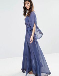 Imagen 1 de Vestido largo de chifón tipo kimono con adornos Las Perlas de The…