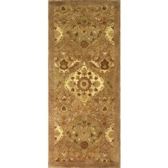 Handmade Rectangular Floral Runner Area Rug in Taupe, 2x12 area rugs