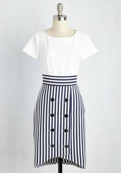 Your classy, coastal adventure in this white dress by Closet London will live on in your memory as the best day ever! Pondering how the ocean breeze is sure to pair perfectly with the glossy buttons and navy stripes of this frock's textured skirt, you know you'll look forward to setting sail in this preppy piece all over again.