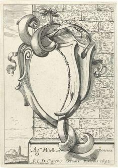 Anonymous | Titelpagina voor serie cartouches, Anonymous, François Langlois, 1642 | Eerste prent uit een serie van twaalf met kopieën naar een serie cartouches door Agostino Mitelli. Titelblad met cartouche dat met twee linten aan een muur is bevestigd. Links gezicht op een landschap.
