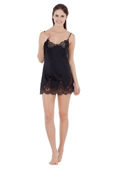 Silk women nightwear babydolls--Black babydolls #Silk #babydolls | Revesilk.com