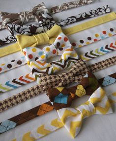 Hey, I found this really awesome Etsy listing at https://www.etsy.com/listing/241637738/boys-brown-yellow-bow-tie-6-18-months