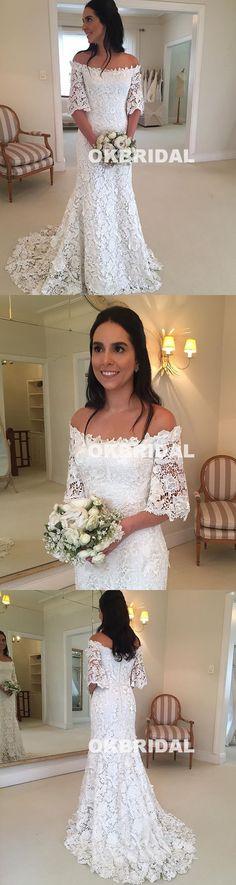 Charming Off shoulder Lace Wedding Dresses, Half Sleeve Lace Mermaid Wedding Dresses, KX926 #lace #weddingdresses #okbridal