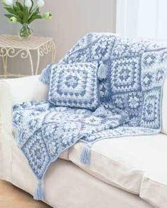 Denim Colors Granny Square Throw and Pillow Crochet Pattern | FaveCrafts.com