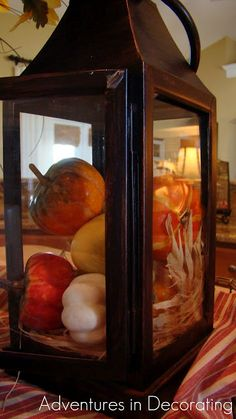 Pumpkins in lantern to decorate for Fall