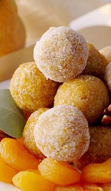 No Bake Apricot Coconut Balls - Apricots are a delicious addition to any dessert tray, This recipe combines a tangy flavor with a sweet crunch. Holiday Desserts, Just Desserts, Thanksgiving Desserts, Cook Desserts, Holiday Baking, Candy Recipes, Dessert Recipes, Apricot Recipes, Coconut Recipes
