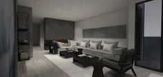 Living room interior design concept - Poliform sofa, Natuzzi Italia Viaggio armchair and custom silk rug.