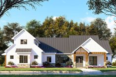 Plan Stone-accented Farmhouse Plan with Bonus Room Over Garage This farmhouse-style house plan gives you just over feet of living space wrapped up in Architectural Design House Plans, Architecture Design, Kitchen With Long Island, Farmhouse Plans, Modern Farmhouse, Farmhouse Style Homes, Farmhouse Design, Ikea, Building Section