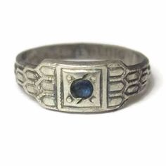 Antique Sterling Sapphire Baby Ring