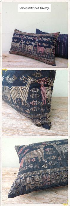 Vintage Ethnic Textile Decorative Throw Pillow +++ make of vintage Los textile, cotton hand woven. please visit for more detail : http://www.etsy.com/shop/orientaltribe11
