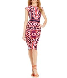 50085b36fe0 Vince Camuto Tribal Cap Sleeve Midi Dress  Dillards