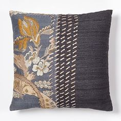 "Gallery Brocade Pillow Cover, 18""x18"", Collection Gray"