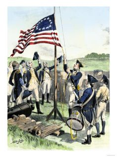 hoisting the new flag American War, American Soldiers, Patriotic Images, Us Flags, Continental Army, Old Glory, American Revolution, 18th Century, Poster