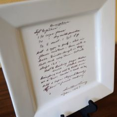 Gift idea. Personalized hand-written family recipe on a platter.