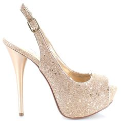 Glitter champagne heels with slingback and peep-toe style #cutesyoriginals