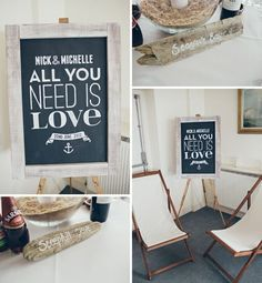 Driftwood & chalkboard wedding decor #trend #wedding #theme