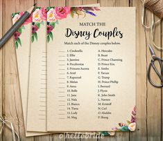 Disney Couples Match Game Printable Boho Bohemian by ohellobride
