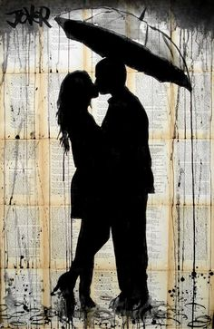 "Loui Jover; Pen and Ink, 2013, Drawing ""rain lovers"":"