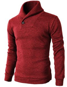 H2H Mens Knited Slim Fit Pullover Sweater Shawl Collar With One Button Point RED US XL/Asia XXL (KMOSWL036)