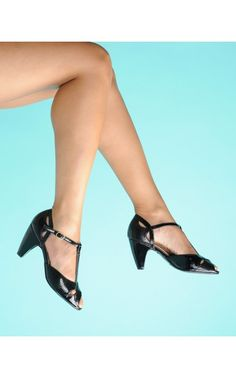 e7d189a7b3 Pinup Girl Clothing- T-Strap Classic Crossover Heels in Black