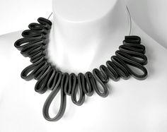 rubber necklace, rubber jewelry, geometric. modern jewelry, rubber jewellery, avant garde necklace, geometric jewelry, statement jewelry, Frank Ideas on Glordy Designs website