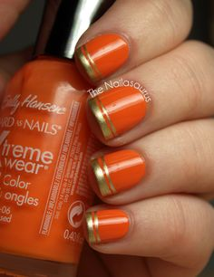 Lovin' the extra line. Sally Hansen - Sunkissed. #nails