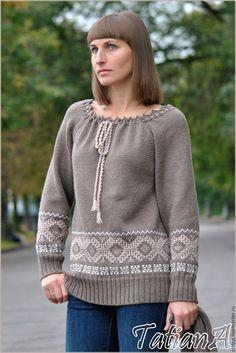 """Купить Вязаный свитер """"IDILYA"""" - комбинированный, свитер, свитер вязаный, свитер…"""