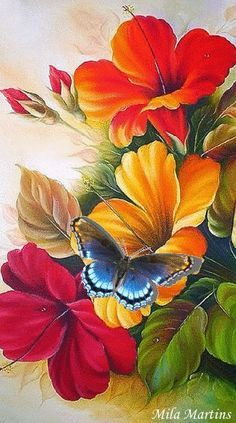 Bird Painting Acrylic, Acrylic Painting Flowers, Watercolor Art, Arte Floral, Flower Art Drawing, Art Drawings For Kids, Butterfly Art, Mural Art, Modern Art Prints