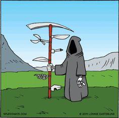 In der Schweiz hat jeder ein Schweizer Messer, sogar der Tod ;)