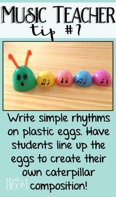 Fun & easy music rhythm composition idea for spring. How cute is this rhythm caterpillar? #musicperformance #music #performance #lesson #plans