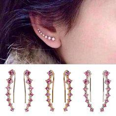 1Pair Womens Shining Pink CZ Crystal Ear Sweep Cuff Earrings Hoop Jewelry Hot