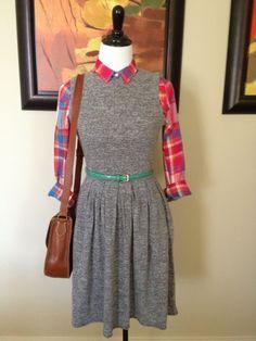 plaid shirt under dress