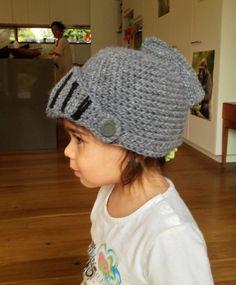 100% wool crochet knight helmet!  Dress ups heaven!