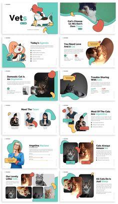 Pets PowerPoint Design Template Pet Websites, Web Design Websites, Cute Powerpoint Templates, Presentation Deck, Creative Poster Design, Affinity Designer, Instructional Design, Instagram Design, Web Layout