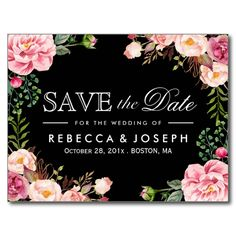 Typography Save the Date Modern Romantic Floral Postcard