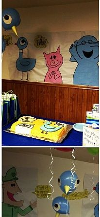 Awesome sis in law's Mo Willems birthday decorations  (Don't let the Pigeon Drive the Bus) (Piggie and Elephant)