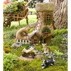 Wind & Weather Lighted Shoe Fairy House with Four Cat Figurines Set Mini Fairy Garden, Fairy Garden Houses, Garden Art, Herb Garden, Garden Ideas, Fairy Shoes, Fairy Furniture, Ideias Diy, Miniature Fairy Gardens