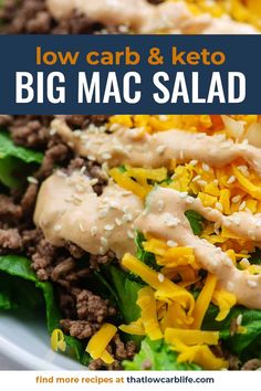 My favorite way to enjoy a Big Mac is with this salad! It's healthy, keto friendly, and low carb! The Big Mac dressing is insanely good! #bigmac #keto #lowcarb #salad Low Carb Keto, Low Carb Recipes, Cooking Recipes, Healthy Recipes, Bariatric Recipes, Flour Recipes, Cooking Hacks, Mac Salad Recipe, Salad Recipes