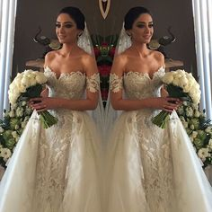 2016 Off Shoulder Detachable Train Wedding Dress Crystal Lace Beads Bridal Gowns Crystal Wedding Dresses, Dream Wedding Dresses, Bridal Dresses, Wedding Gowns, Wedding Attire, Dream Dress, Perfect Wedding, Wedding Styles, Wedding Inspiration