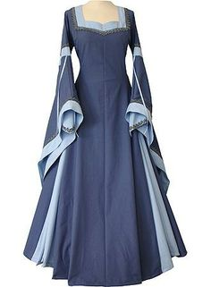 Guinevere Indigo-Light Blue Renaissance Dress.  I like the contrasting trim,  might have to do this to G's gown since it's a little low.