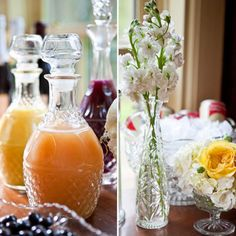 serve juice in decanters for an elegant brunch