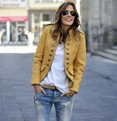 Mustard Military Style Jacket and Jeans.