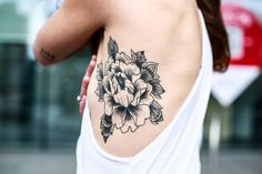 #floral #tattoo #side #inked