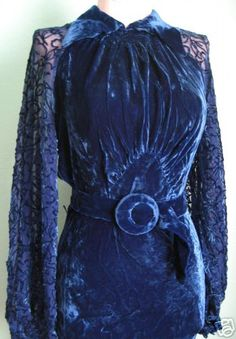 1930s royal blue velvet dress so funky